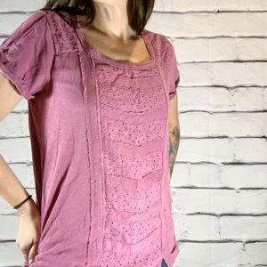{Lucky Brand} eyelet front vintage wash blouse